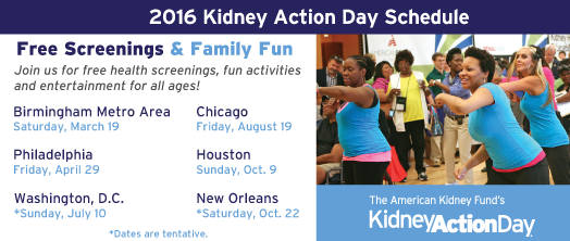Kidney Action Day Schedule